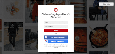 Giao diện của website Pinterest