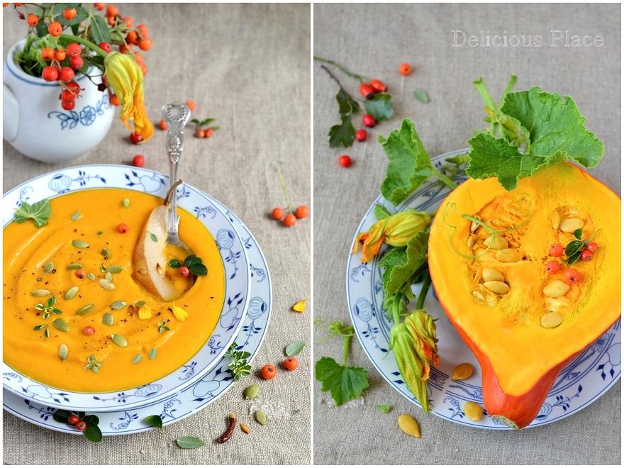 Zupa dyniowa z gruszką i chili