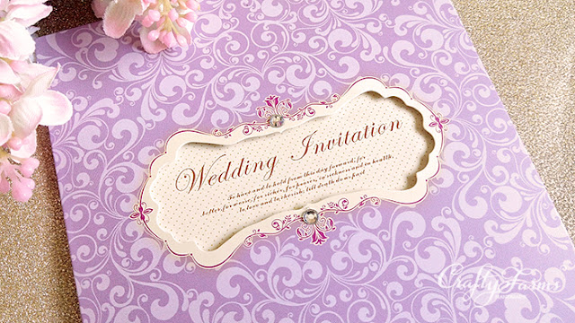 Lilac Purple Petal Fold Pocket Wedding Cards,  Kad Jemputan Kahwin