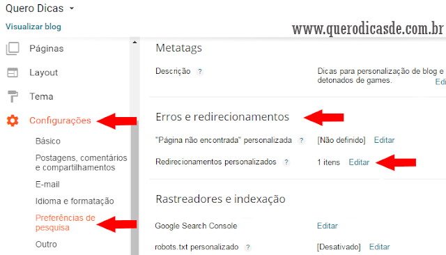 como redirecionar links no blog