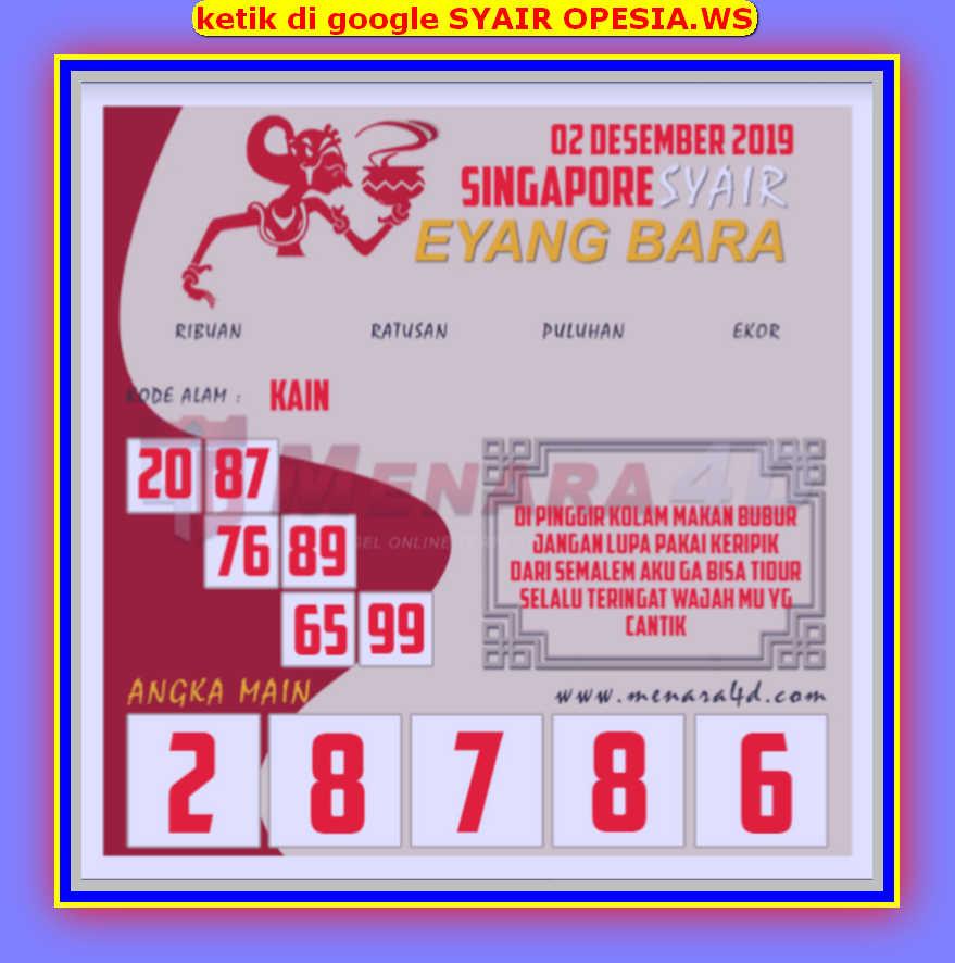 Kode syair Singapore Senin 2 Desember 2019 145