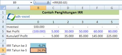 cara menggunakan rumus IRR dalam excel