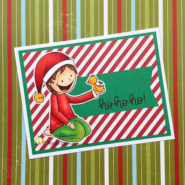 Christmas card with an elf and his toy