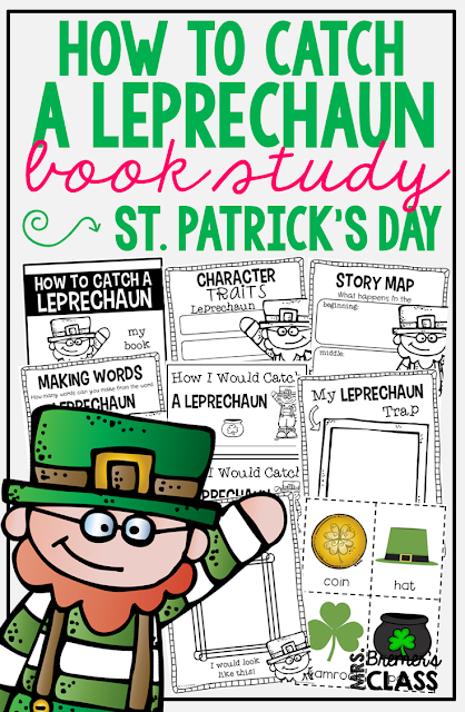 How to Catch a Leprechaun book study companion activities. Your students will LOVE trying to catch the leprechaun with the characters in the story! Perfect for St. Patrick's day in K-2. Packed with fun ideas and guided reading literacy activities. Common Core aligned. Grades K-2. #stpatricksday #bookstudy #bookstudies #literacy #guidedreading #1stgrade #kindergarten