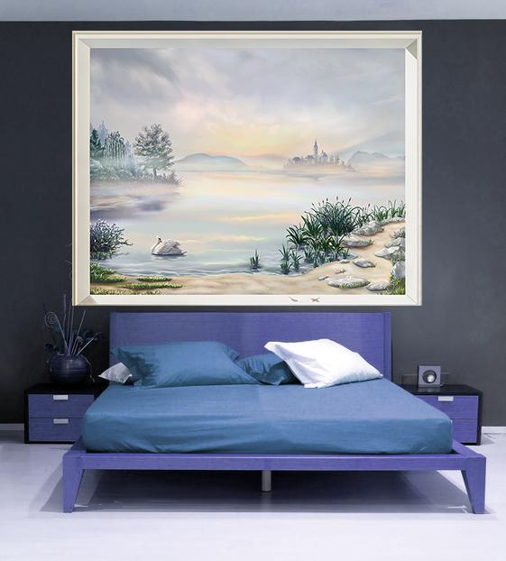 tete de lit gris bleuté , style scandinave