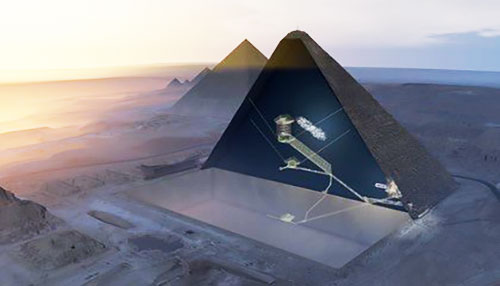 Cartoon showing location of giant void in the Great Pyramid (Source: Smithsonian.com, November 5, 2017)
