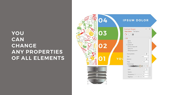 Education and Learning Infographics Free PowerPoint Template with Summary of Editable Properties