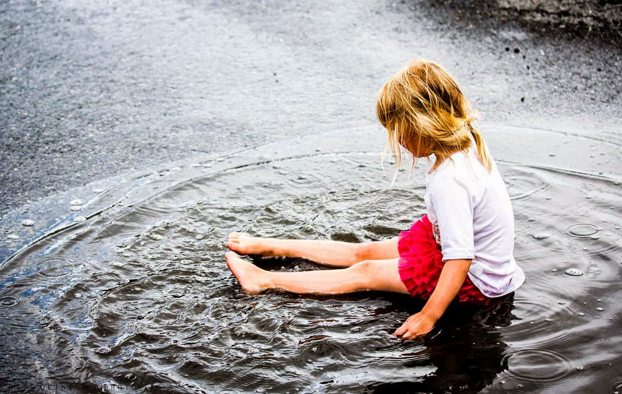 Child Playing Rain Water