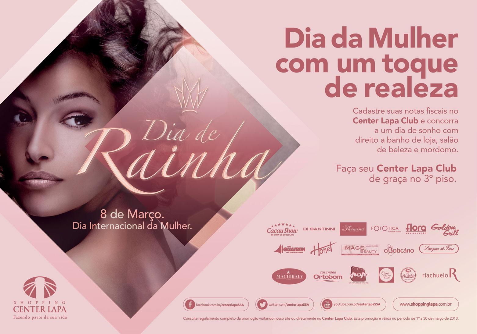 babbbeab29f Os interessados em participar da Campanha Dia de Rainha do Shopping Center  Lapa tem até este sábado (30). A promoção vai premiar a cliente que mais  pontuar ...