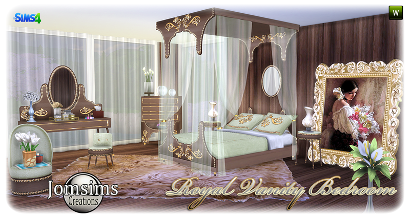 My Sims 4 Blog Royal Vanity Bedroom Set by JomSims