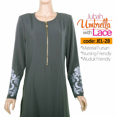 Jubah Umbrella Lace JEL-28 Grey Depan 4