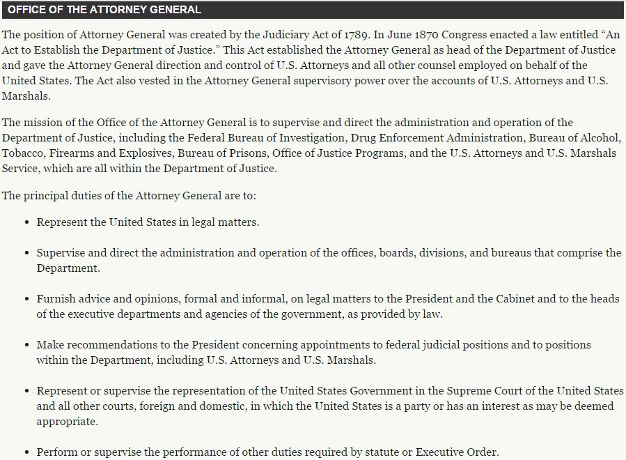 the functions of the office of the attorney general in united states Find information for federal, state, and local government agencies and elected officials  an official website of the united states government here's how you know.