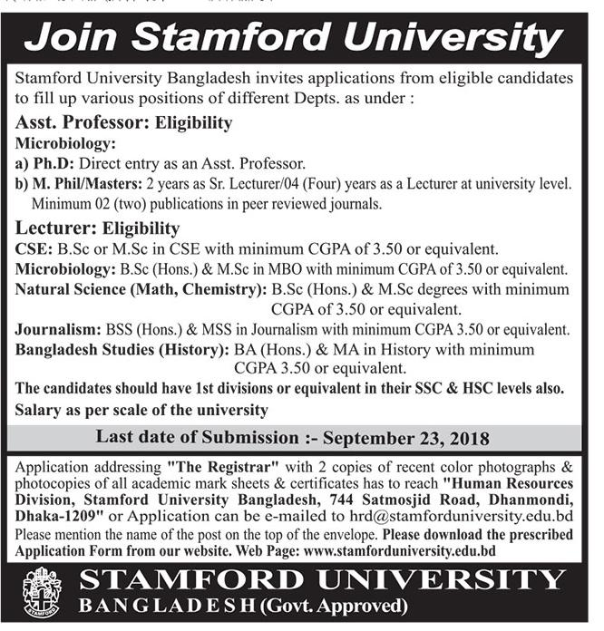 Stamford University Bangladesh Job Circular 2018