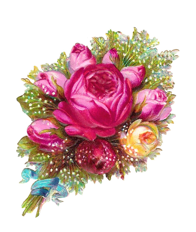 Antique Images: Scrapbooking Flower Pink Rose Digital ...