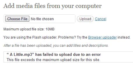 WordPress file size upload error