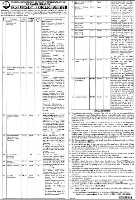 Muhammad Nawaz Sharif University Of Agriculture Multan Jobs 2019 For Professor,Assistant