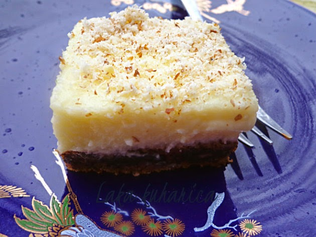 White chocolate squares by Laka kuharica:  luxurious cake with rich and creamy layer on top.