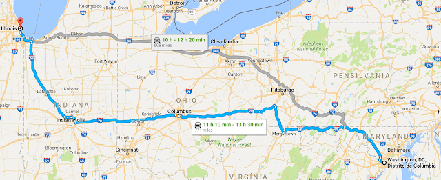 Viagem de carro de Chicago à Washingtonou de Washington à Chicago
