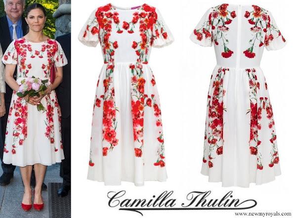Crown Princess Victoria wore CAMILLA THULIN Alvine Rose White Dress