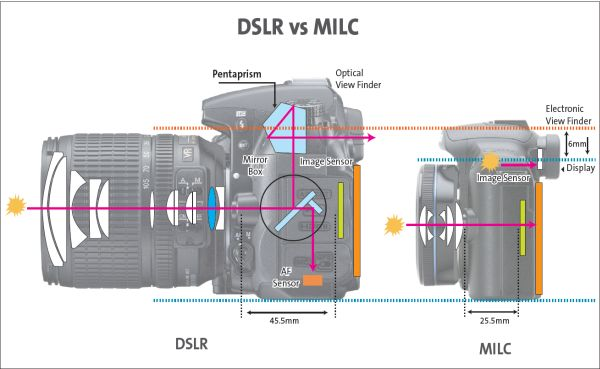 Image comparing DLSR and MILC camera: Intelligent Computing