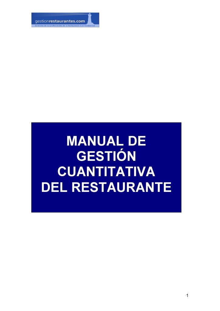 Manual de gestión cuantitativa del restaurante