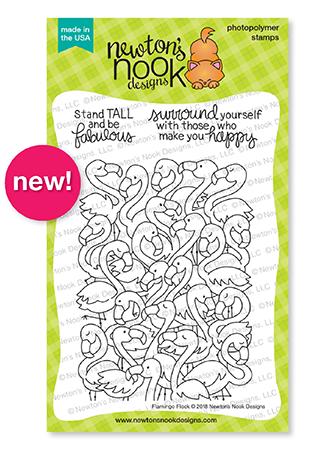 Flamingo Flock 4x6 Stamp Set by Newton's Nook Designs #newtonsnook