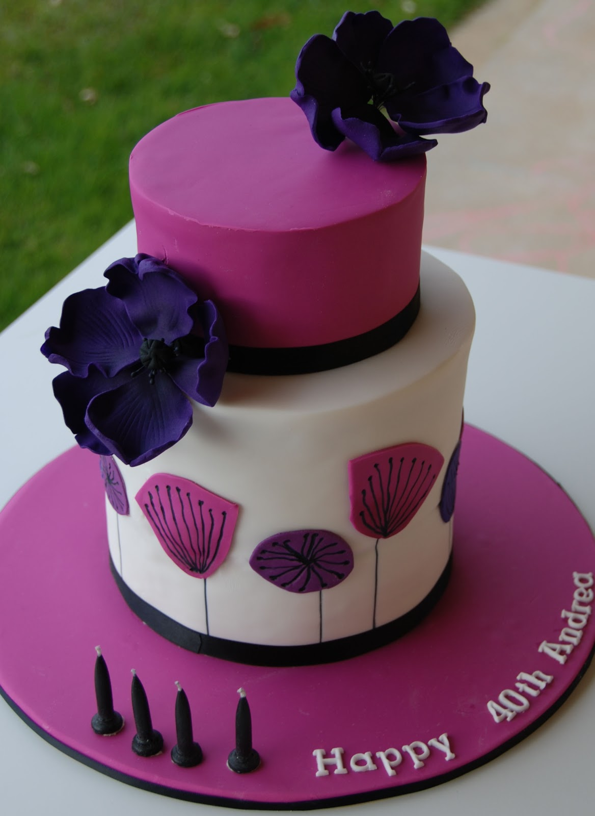 Purple And Pink 40th Birthday Cake