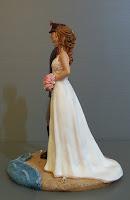 statuette matrimonio sposa con abito e bouquet personalizzati tema mare orme magiche