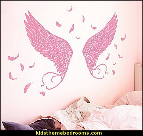 Angel's Wings Wall Stickers mythology theme bedrooms - greek theme room - roman theme rooms - angelic heavenly realm theme decorating ideas - Greek Mythology Decorations -  angel wall lights - angel wings decor - angel theme bedroom ideas - greek mythology decorating ideas - Ancient Greek Corinthian Column - Angel themed baby room - angel decor - cloud murals - heaven murals - angel murals