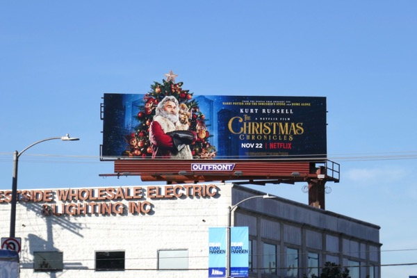 Christmas Chronicles cut-out billboard