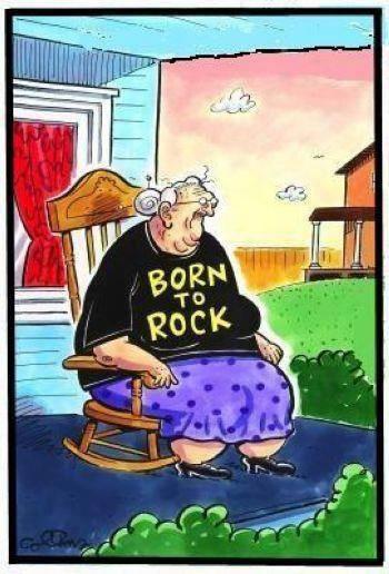 Hilarious Born To Rock Grandma Cartoon Image