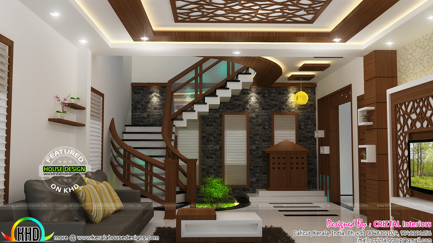 Bedroom dining hall and living interior kerala home for Hall design for small house