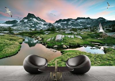 Fototapet berg landskap tapet natur fåglar fondtapet 3d