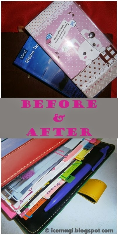 my planner before and after
