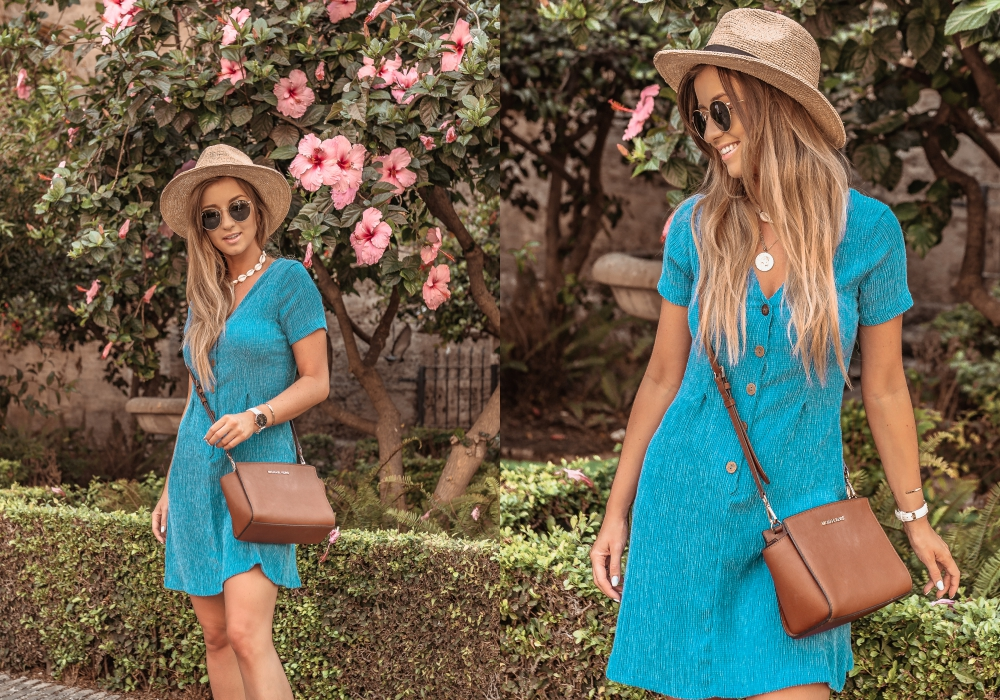171312823f Druga propozycja to błękitna sukienka z krótki rękawem o prostym