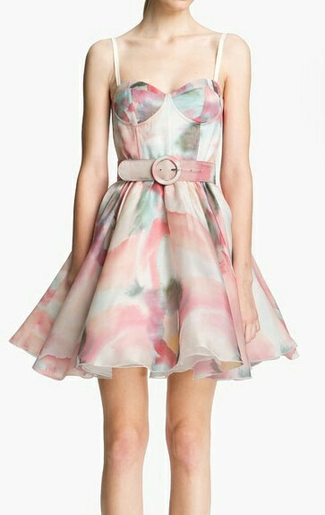 Watercolour belt swig Dress