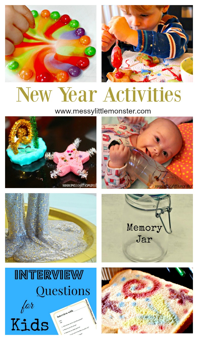New Years Eve activities for kids. Includes firework activities, slime recipes, science experiments, sensory activities and family traditions.