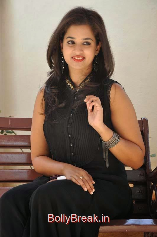 Tollywood Actress Nanditha, Nanditha Hot Pics In Black Dress from Movie Krishnamma Kalipindi Iddarini Shooting Spot