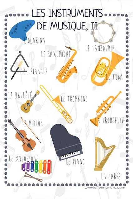 vocabulaire, les instruments, infographie gratuite
