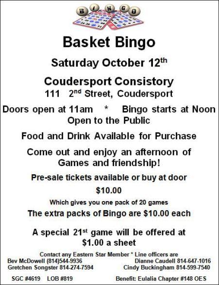 10-12 Basket Bingo, Coudersport Consistory