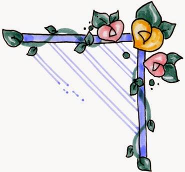 Flores: Esquinas para Scrapbooking de Fiestas de Compromiso, Bodas y Aniversarios.