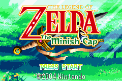 Pantalla inicial del videojuego The Legend of Zelda : The Minish Cap para Game Boy Advance en el año 2004