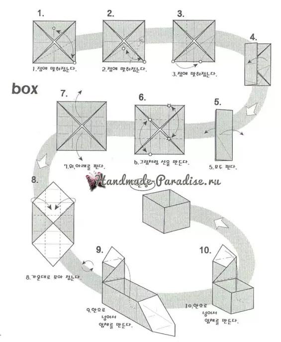 Коробочка РОЗА из бумаги в технике оригами. Мастер-класс (4)
