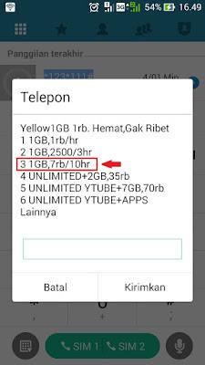 paket yellow indosat murah 1GB 10000