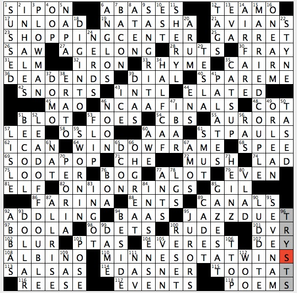 Talkative folks crossword