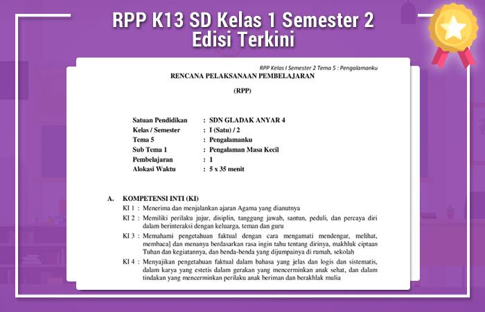 RPP K13 SD Kelas 1 Semester 2 Edisi Terkini