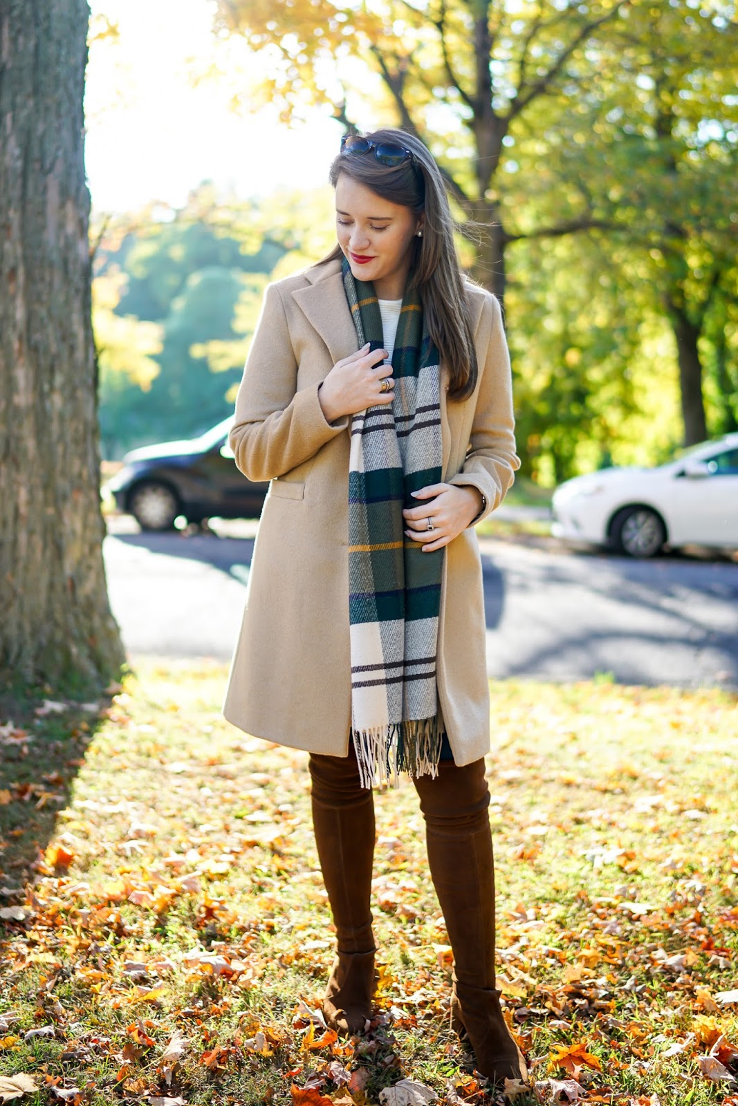 wool coat, fall coats, plaid scarf
