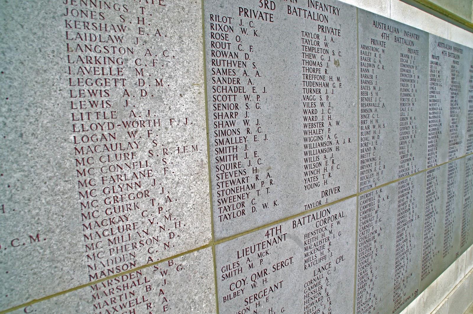 Names on Lone Pine Memorial