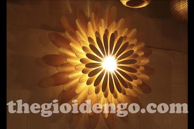 Thế Giới Đèn Gỗ - Đèn gỗ trang trí hoa cúc 1