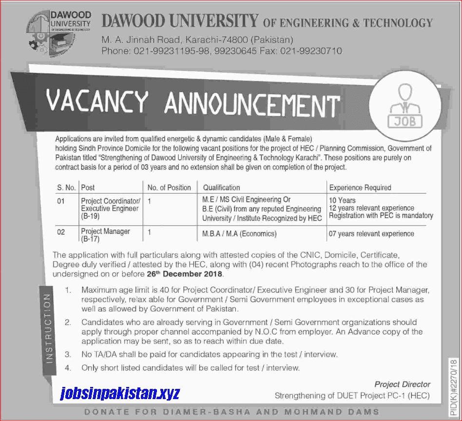 Advertisement for Dawood University Karachi Jobs December 2018